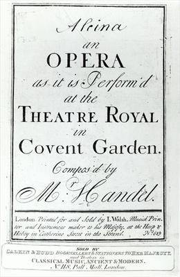 Cover of Sheet Music for Alcina, an Opera by Handel, published in 1735
