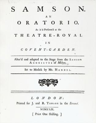 Cover of Sheet Music for Samson, an Oratorio by Handel, published in 1759