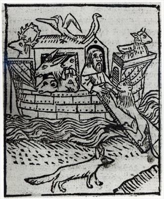 Noah's Ark, illustration from 'Golden Legend' compiled by Jacobus de Voragine and published by William Caxton, 1483
