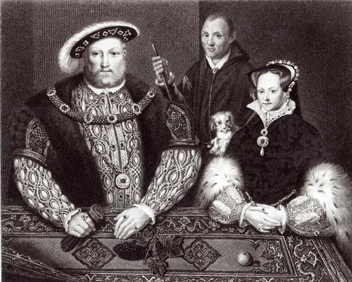 Henry VIII, his daughter Queen Mary and Will Somers, after a 16th century oil painting, painted posthumously, 1821