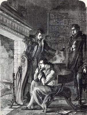 Napoleon brooding by the fire the night before his Abdication and Departure from Fontainebleau on 20th April 1814