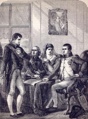 Ferdinand of Spain resigning his crown at the dictation of the Emperor Napoleon