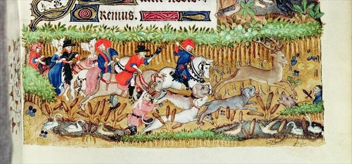 Lat 1156 B f.163 November; deer hunting, from the Hours of Marguerite d'Orleans, 1426-38