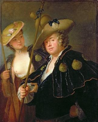 Gustav Adolf Graf von Gotter and his Niece Friederike von Wangenheum in Pilgrim Costumes, c.1750