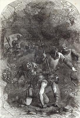 The Troops of Lord Montacute in the Subterranean Passage, illustration from 'Cassell's Illustrated History of England'