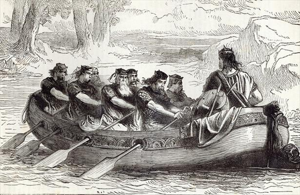 Edgar the Pacific being rowed down the River Dee by Eight Tributary Princes, illustration from 'Cassell's Illustrated History of England'