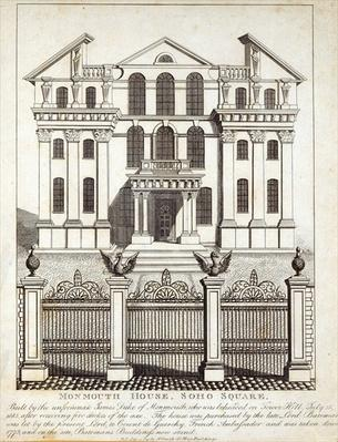 Monmouth House, Soho Square, published by N. Smith, Gt Mays Buildings, 11th January 1791