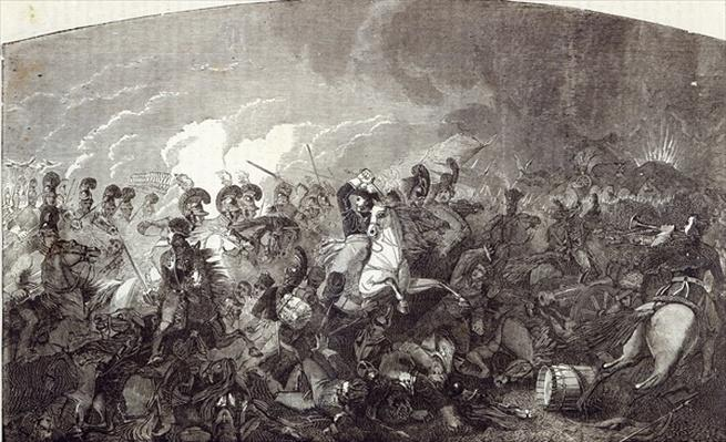 Charge of Lord Somerset's Heavy Brigade at Waterloo, and total rout of the French Army, illustration from 'Cassell's Illustrated History of England'