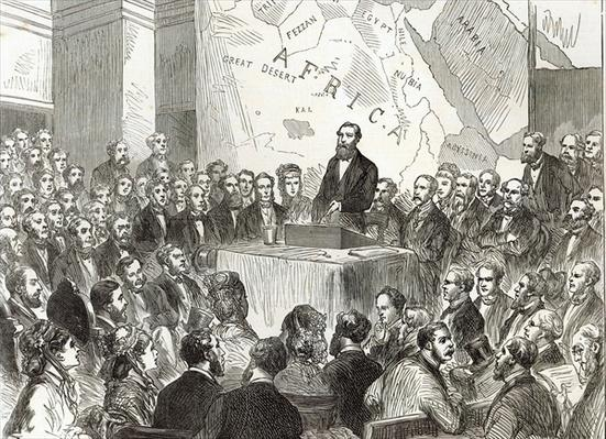 Sir Samuel Baker at the meeting of the Royal Geographical Society, from 'The Illustrated London News', 20th December 1873