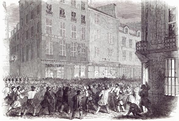 Bread Riot, in the Rue du Faubourg St. Antoine, at Paris, from 'The Illustrated London News', 10th October 1846