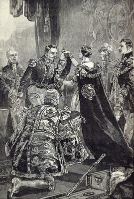 The Queen investing the Emperor of the French with the Order of the Garter
