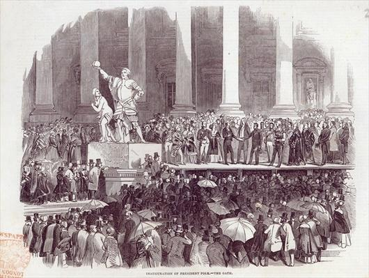 Inauguration of President Polk: The Oath, from 'The Illustrated London News', 19th April 1845