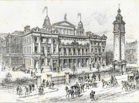 Completed buildings of the People's Palace, Mile End Road, East London, from 'The Illustrated London News', 27th June 1891