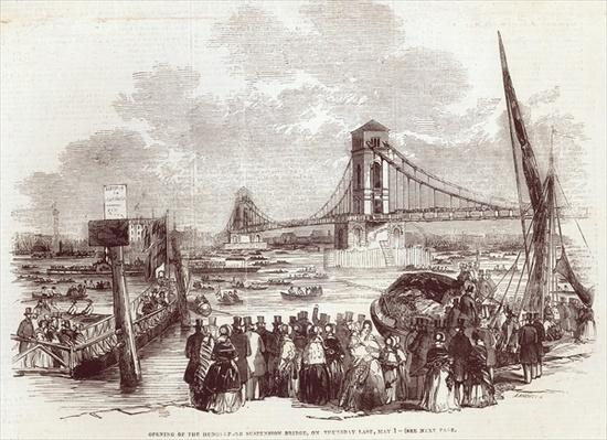 Opening of the Hungerford Suspension Bridge, from 'The Illustrated London News', 3rd May 1845