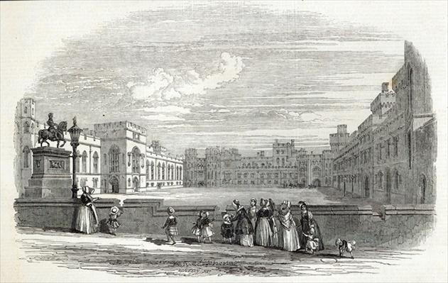 The Great Quadrangle, Windsor Castle, from 'The Illustrated London News', 10th October 1846