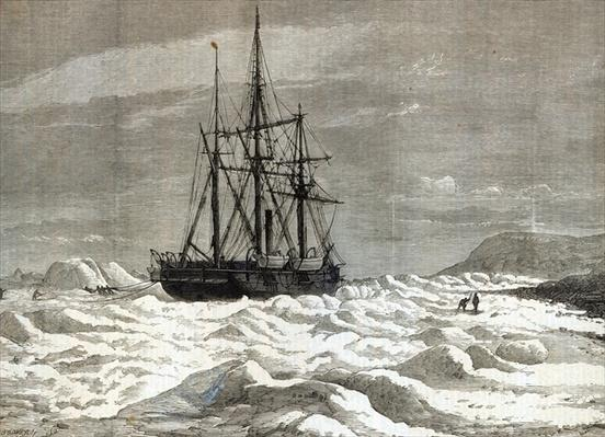 The North Pole Expedition: The Alert nipped by the ice against the shore off Cape Beechy, from 'The Illustrated London News', 1876