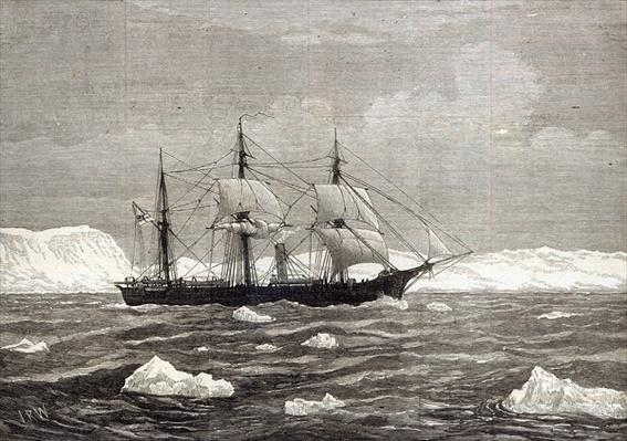 The North Pole Expedition: The Alert hoisting colours in honour of having attained the highest latitude of any ship on record