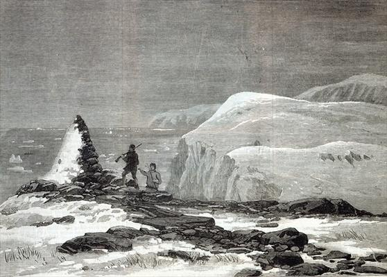 The cruise of the Pandora: Cairn erected by Captain Nares at Cape Isabella, from 'The Illustrated London News', 1876