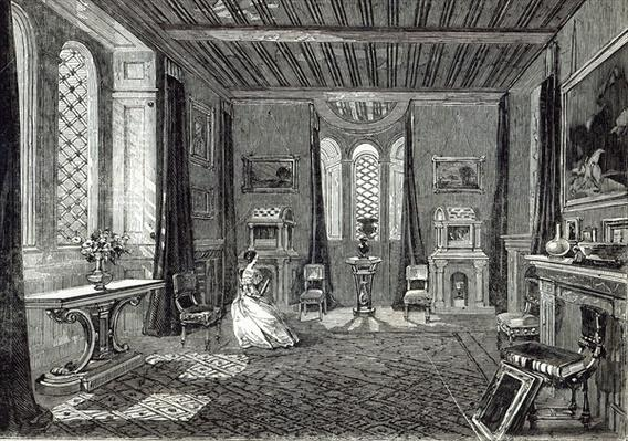 The Scarlet Drawing-room, Lansdown Tower, from 'The Illustrated London News', 29th November 1845