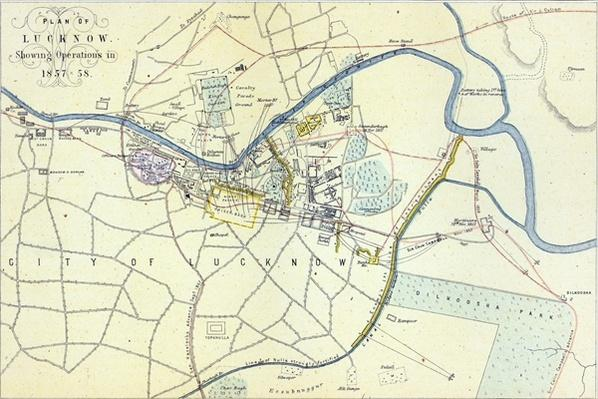 Plan of Lucknow showing Operations in 1857-58, pub. by William Mackenzie, c.1860