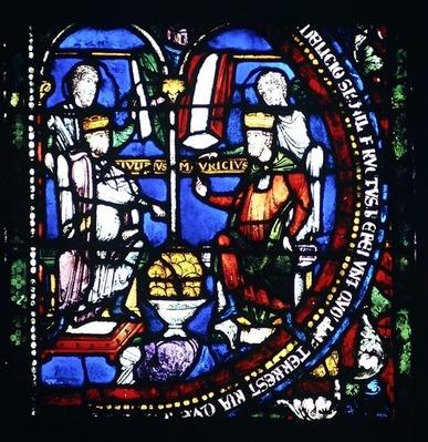 Thorny Ones: Emperors Julian and Maurice, detail of the north window of the Choir, late 12th century