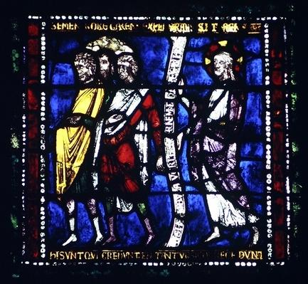 The Pharisees Turn Away from Christ, detail of the north window of the Choir, late 12th century