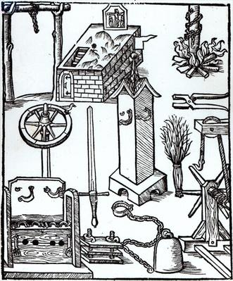 Instruments of Execution, Punishment and Torture, illustration from the Bamberger Halsgericht, 1507