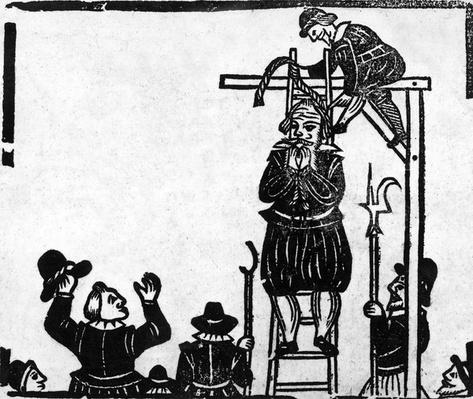 Scaffold with a man about to be hanged
