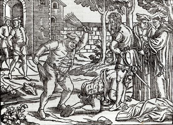 Bishop Bonner beating his prisoner, John Willes, in the orchard of his palace at Fulham
