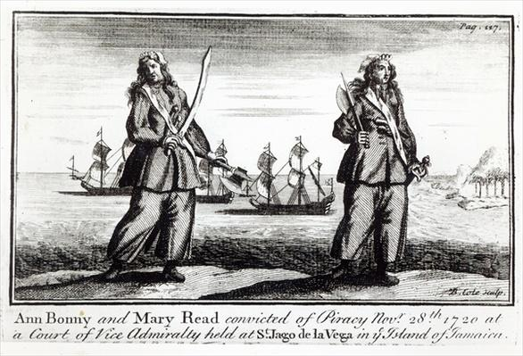 Ann Bonny and Mary Read convicted of piracy November 28th 1720 at a court of Vice Admiralty held at St. Jago de la Vega in the island of Jamaica