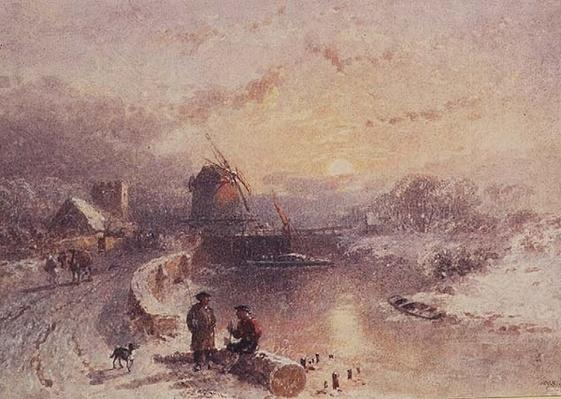 Winter Landscape: Sunset, 19th century