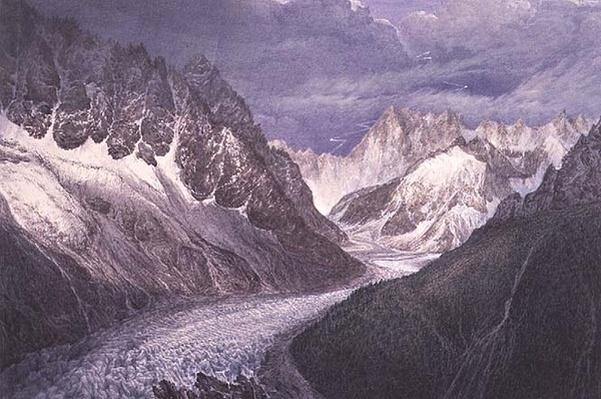 View of the Mer de Glace with the Aiguille du Moine on the left and the Grandes Jorasses in the distance to the right, 19th century