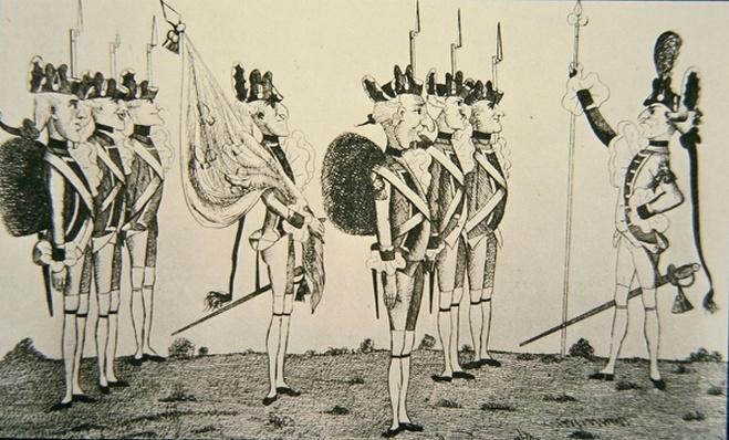 Rochambeau reviewing french troops in America, 1780