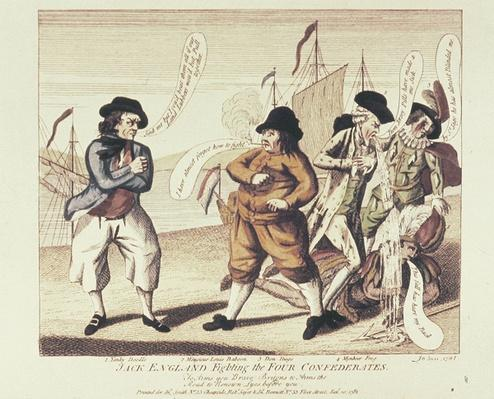 Jack England fighting the Four Confederates, 1781