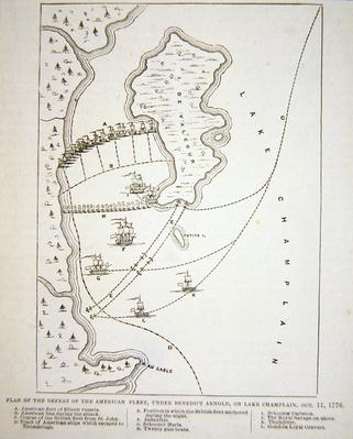 Plan of the defeat of the American Fleet on Lake Champlain