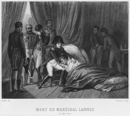 Last moments of Marshal Lannes, Duke of Montebello, at the battle of Essling on 22nd May 1809, engraved by Abraham Girardet
