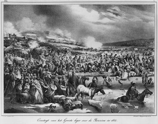 Crossing the Berezina on November 1812, engraved by Desguerrois