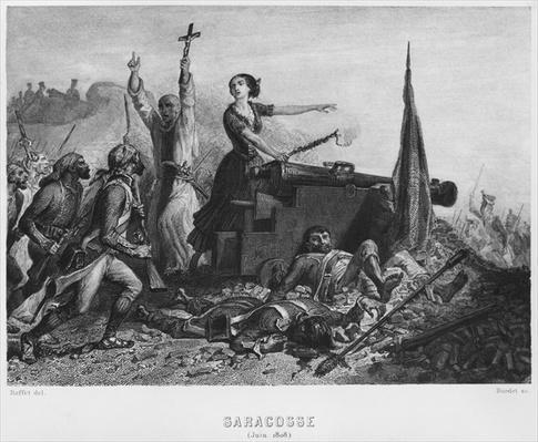 The Siege of Zaragoza in June 1808, engraved by Augustin Burdet