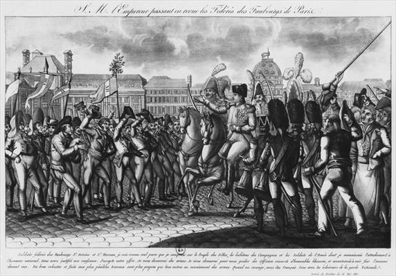 Napoleon I reviewing the Federes of the Parisian suburbs at the Tuileries, illustration from 'Le Moniteur', 16th May 1815