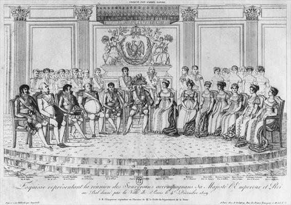Sketch depicting Napoleon I and the sovereigns at the ball given by the city of Paris on 4th December 1809