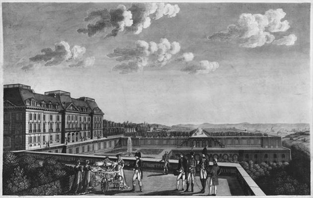 First steps of King of Rome on the terrace of Saint-Cloud, engraved by Dubois