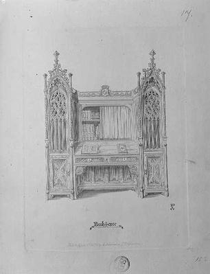 Design for a gothic bookcase, c.1835
