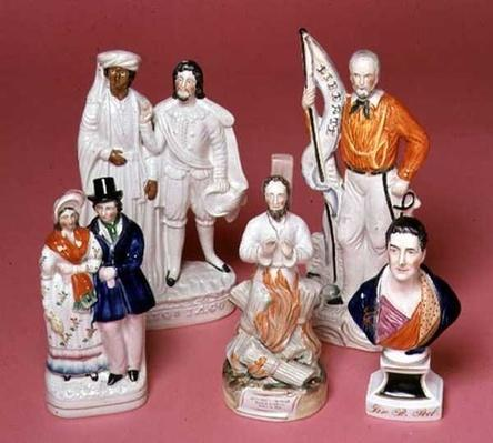 Staffordshire figures of Sir Robert Peel, Archbishop Cranmer, Othello and Iago, Queen Victoria and Prince Albert and Liberty