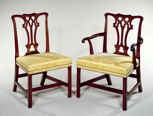 Dining chairs, with interlaced splat backs and square chamfered legs, c.1760