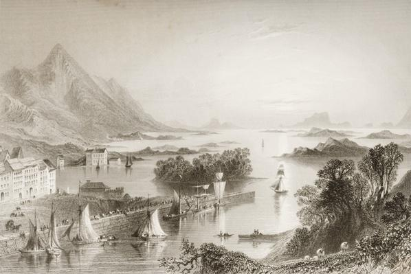 Clew Bay seen from Westport, County Mayo, from 'Scenery and Antiquities of Ireland' by George Virtue, 1860s