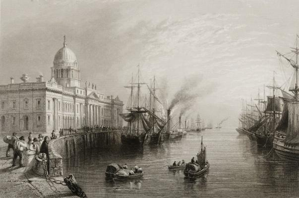 The Custom House, Dublin, from 'Scenery and Antiquities of Ireland' by George Virtue, 1860s