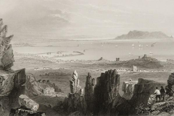 Dublin Bay from Kingstown Quarries, from 'Scenery and Antiquities of Ireland' by George Virtue, 1860s