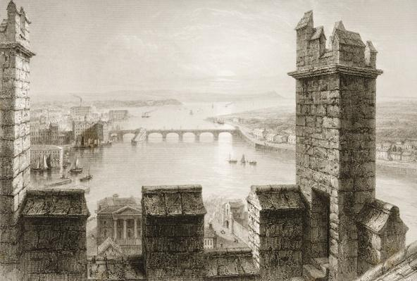 The River Shannon and Limerick from the Cathedral Tower, County Limerick, from 'Scenery and Antiquities of Ireland' by George Virtue, 1860s