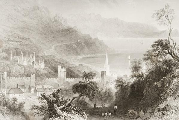 Glenarm, County Antrim, Northern Ireland, from 'Scenery and Antiquities of Ireland' by George Virtue, 1860s