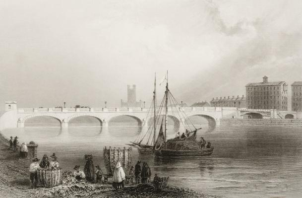 Wellesley Bridge, Limerick, Ireland, from 'Scenery and Antiquities of Ireland' by George Virtue, 1860s
